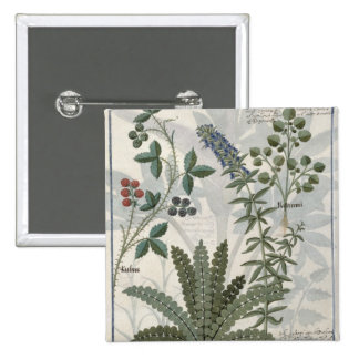 Ferns, Brambles and Flowers 15 Cm Square Badge