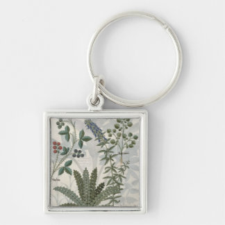 Ferns, Brambles and Flowers Silver-Colored Square Key Ring