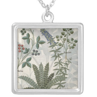 Ferns, Brambles and Flowers Silver Plated Necklace