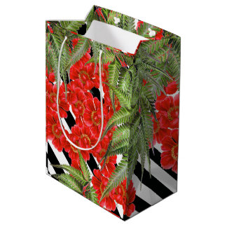 Ferns Red Peony Flowers Floral Stripes Gift Bag