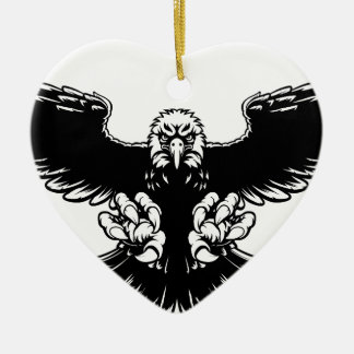 Ferocious Eagle Mascot Ceramic Heart Decoration