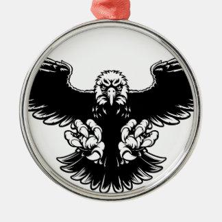 Ferocious Eagle Mascot Silver-Colored Round Decoration