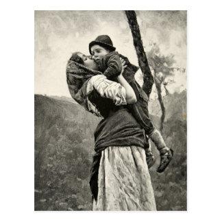 Ferraguti Love Mother Son Child Kiss Vintage Art Postcard