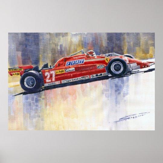 Ferrari 126 CK Gilles Villeneueve Spanish GP 1981 Poster