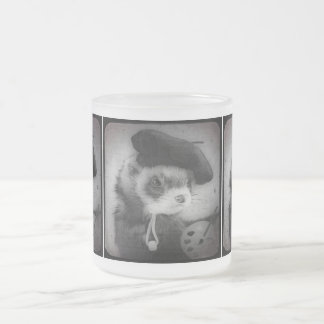 Ferret as Artist Frosted Glass Mug