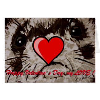 Ferret -Card - Valentine`s Day wish Greeting Card