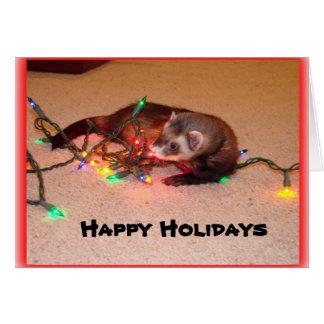 Ferret Christmas Lights Card