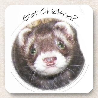 Ferret Face Picture Got Chicken? Beverage Coasters