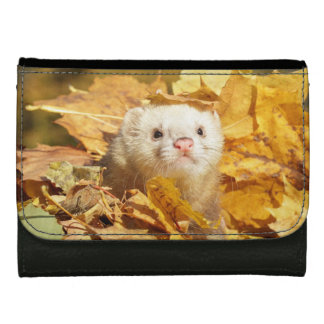 Ferret in autumn leaves medium faux leather walle wallets