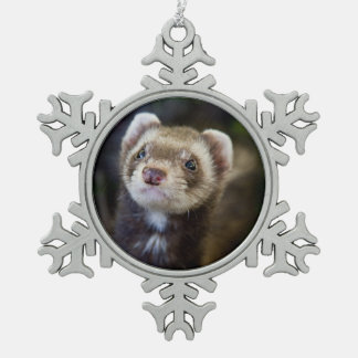 Ferret Snowflake Pewter Christmas Ornament