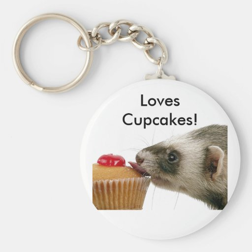 Ferrets Love Cupcakes Basic Round Button Key Ring
