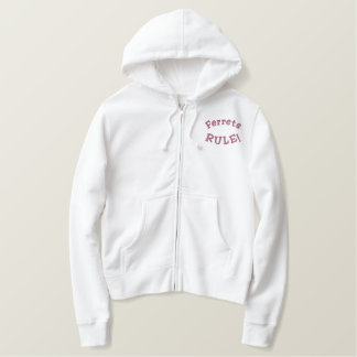 Ferrets Rule Funny Embroidered Hoodie