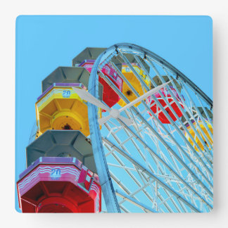 Ferris Wheel at Santa Monica Pier, California Square Wall Clock
