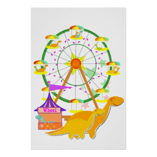 Ferris Wheel Dinosaurs Poster Print