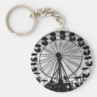 Ferris Wheel in Black and White Photo Gifts Basic Round Button Key Ring