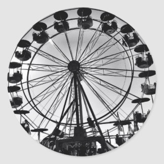 Ferris Wheel in Black and White Photo Gifts Round Sticker