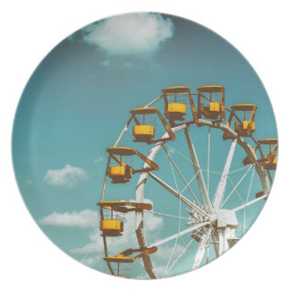 Ferris Wheel In Fun Park On Blue Sky Plate