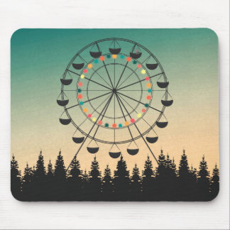Ferris wheel in sunset sky illustration mouse mat