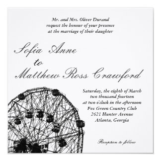 Ferris Wheel 5.25x5.25 Square Paper Invitation Card