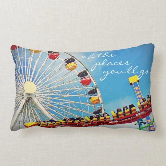 Ferris wheel & roller coaster photo lumbar pillow