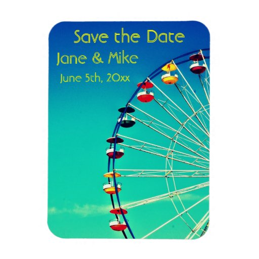 Ferris Wheel Save the Date Rectangle Magnets