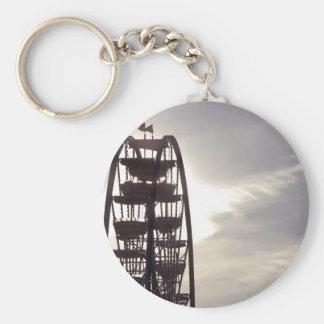Ferris Wheel Silhouette Basic Round Button Key Ring