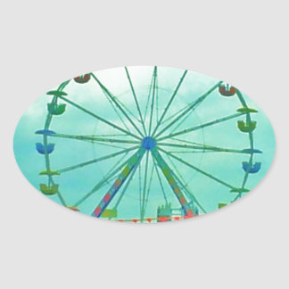 Ferris Wheel Spring Fest Misquamicut Beach Oval Sticker