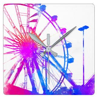 Ferris wheel square wall clock
