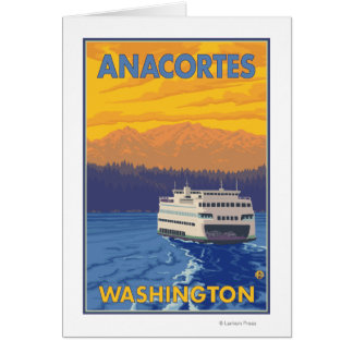 Ferry and Mountains - Anacortes, Washington Card