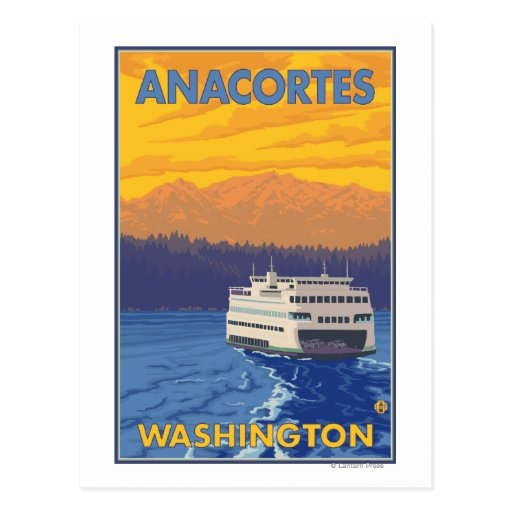 Ferry and Mountains - Anacortes, Washington Post Cards