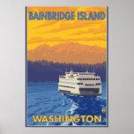 Ferry and Mountains - Bainbridge Island, WA Print