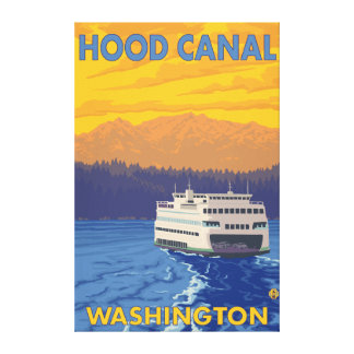 Ferry and Mountains - Hood Canal, Washington Canvas Print