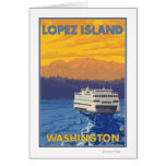 Ferry and Mountains - Lopez Island, Washington Greeting Card