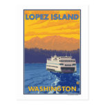 Ferry and Mountains - Lopez Island, Washington Postcard