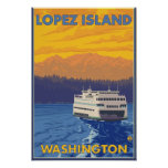 Ferry and Mountains - Lopez Island, Washington Poster