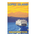 Ferry and Mountains - Lopez Island, Washington Stretched Canvas Prints
