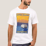Ferry and Mountains - Lopez Island, Washington T-Shirt