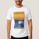 Ferry and Mountains - Lopez Island, Washington T-shirts