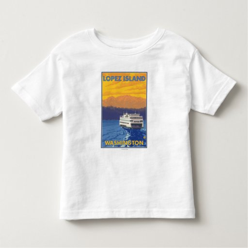 Ferry and Mountains - Lopez Island, Washington Toddler T-Shirt