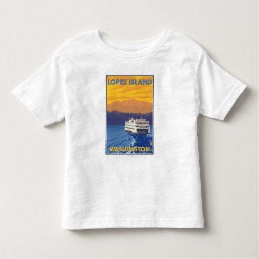 Ferry and Mountains - Lopez Island, Washington Toddler T-Shirt