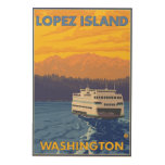 Ferry and Mountains - Lopez Island, Washington Wood Print