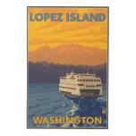 Ferry and Mountains - Lopez Island, Washington Wood Print