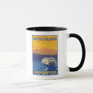 Ferry and Mountains - Orcas Island, Washington Mug