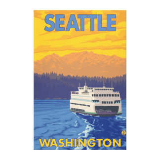 Ferry and Mountains - Seattle, Washington Canvas Print