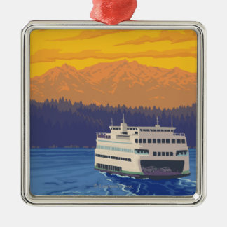 Ferry and Mountains - Seattle, Washington Christmas Ornament