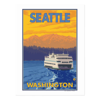 Ferry and Mountains - Seattle, Washington Postcard