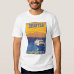 Ferry and Mountains - Seattle, Washington T Shirt