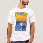 Ferry and Mountains - Seattle, Washington T-Shirt