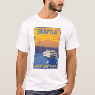 Ferry and Mountains - Seattle, Washington T-Shirt