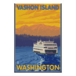 Ferry and Mountains - Vashon Island, Poster